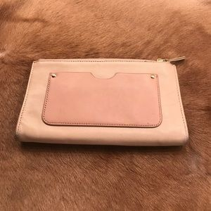 Margot Pale Pink Leather Clutch 3 Compartments